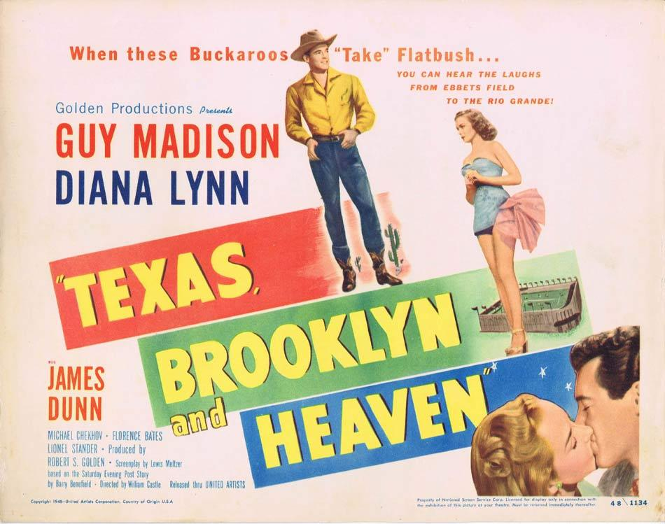 TEXAS BROOKLYN AND HEAVEN Title Lobby Card 4 Guy Madison William Castle