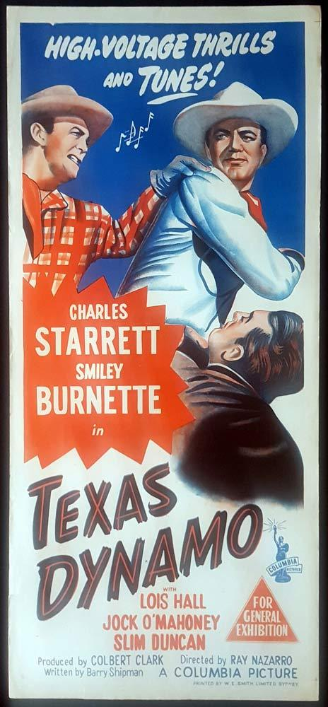 TEXAS DYNAMO Original Daybill Movie Poster Charles Starrett Smiley Burnette