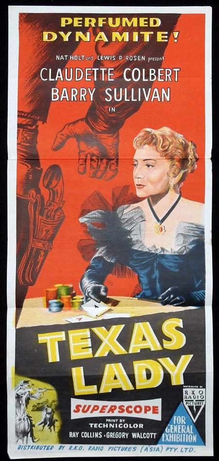 TEXAS LADY Original Daybill Movie Poster GAMBLING Claudette Colbert Barry Sullivan