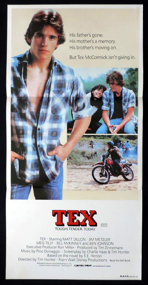 TEX Original Daybill Movie Poster Dirt Bike Motorcycle Matt Dillon Meg Tilly