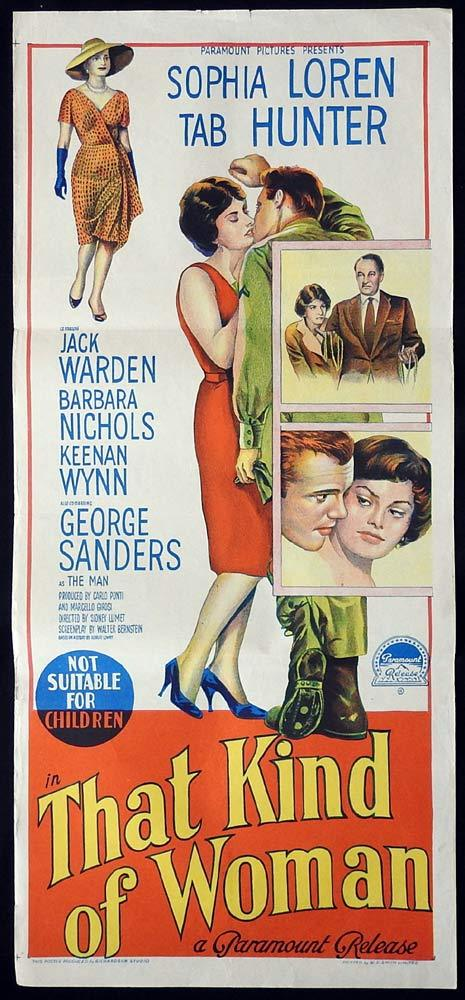 THAT KIND OF WOMAN Original Daybill Movie poster Sophia Loren Tab Hunter Richardson Studio