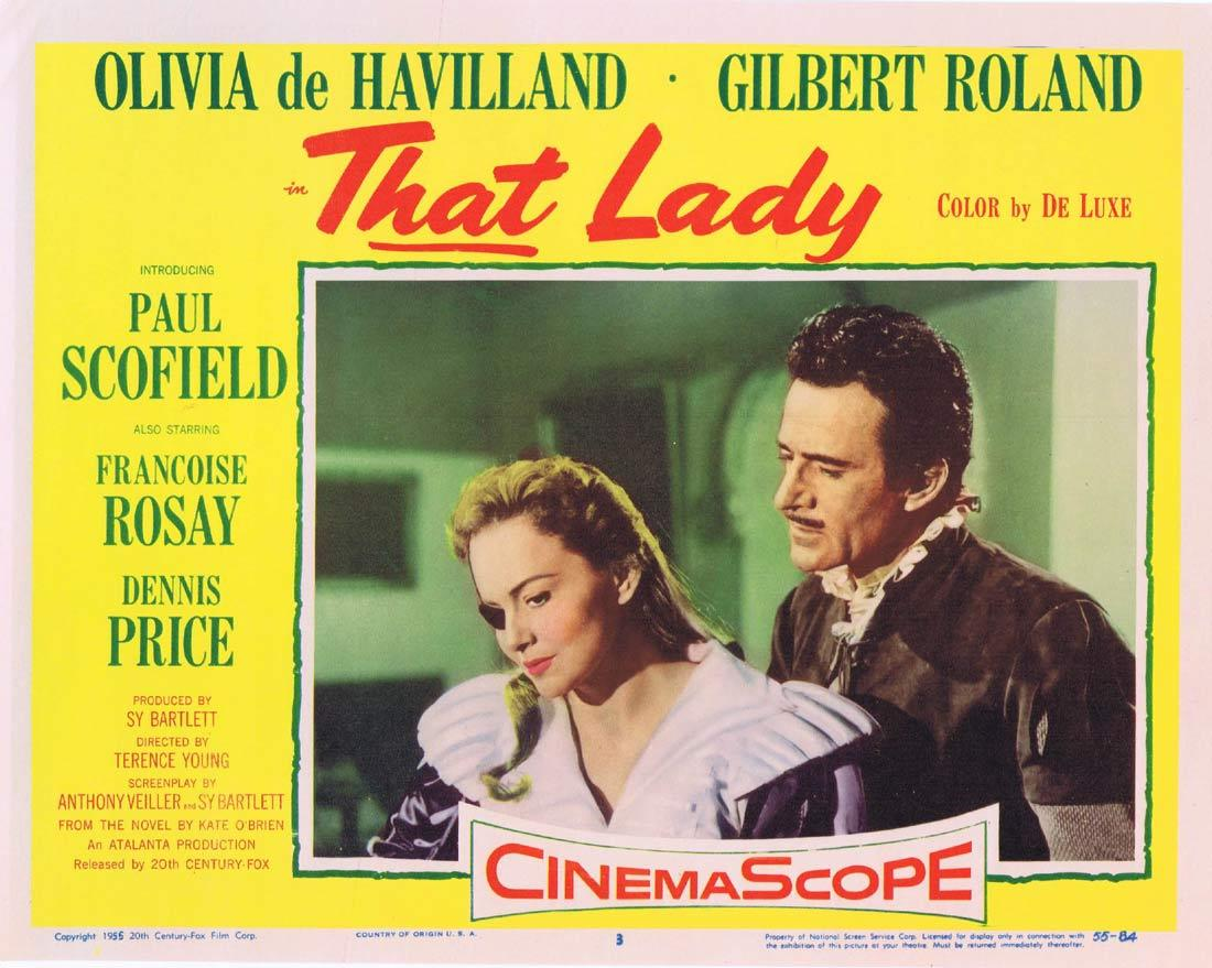 THAT LADY Lobby Card 3 Olivia de Havilland Paul Scofield Gilbert Roland