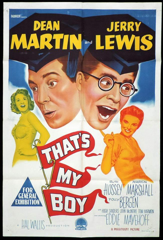 THAT'S MY BOY Original One sheet Movie Poster Dean Martin Jerry Lewis
