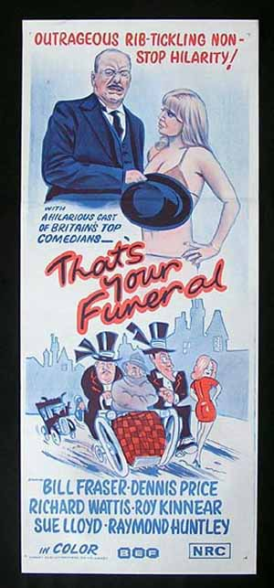 THAT'S YOUR FUNERAL Daybill Movie poster HAMMER British Comedy