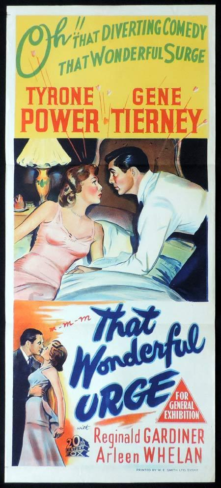 THAT WONDERFUL URGE Original Daybill Movie Poster Tyrone Power Gene Tierney