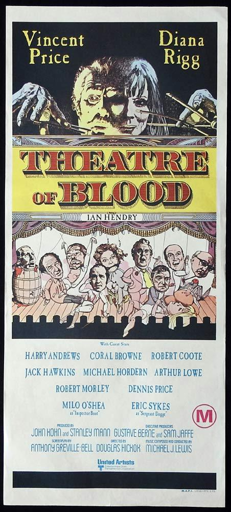 THEATRE OF BLOOD Original Daybill Movie Poster Vincent Price Diana Rigg