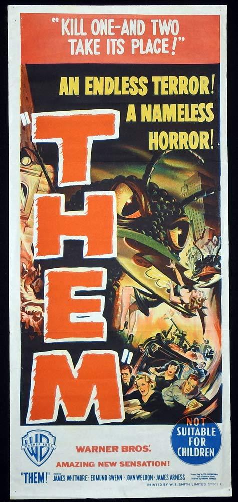 THEM! Vintage Daybill Movie poster Sci Fi Classic art