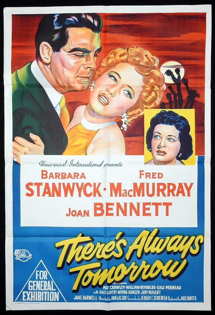 THERE'S ALWAYS TOMORROW Original One sheet Movie poster Barbara Stanwyck Fred MacMurray