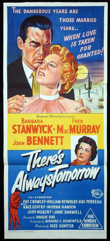 THERE'S ALWAYS TOMORROW Original Daybill Movie Poster Barbara Stanwyck Fred MacMurray