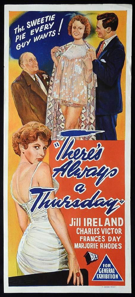 THERE'S ALWAYS A THURSDAY Original Daybill Movie Poster Jill Ireland Charles Victor