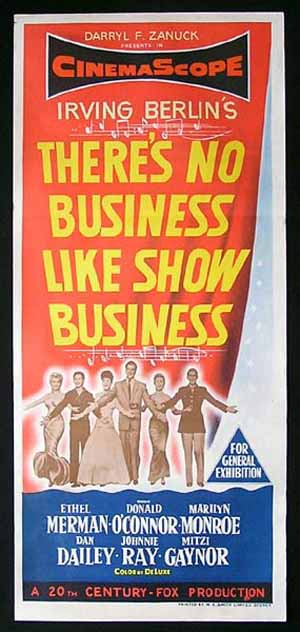 THERE'S NO BUSINESS LIKE SHOW BUSINESS Marilyn Monroe Australian Daybill Movie poster