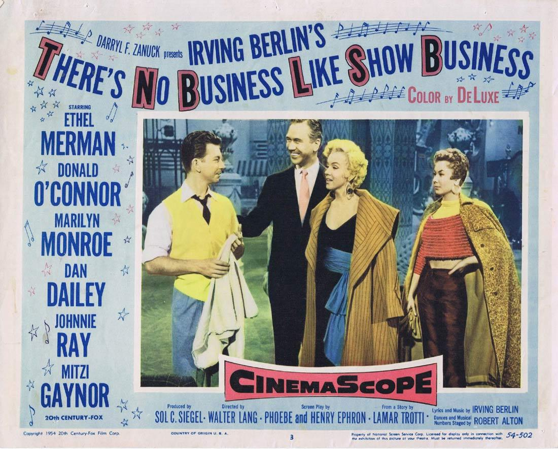 THERE'S NO BUSINESS LIKE SHOW BUSINESS Lobby Card 3 Ethel Merman Donald O'Connor Marilyn Monroe