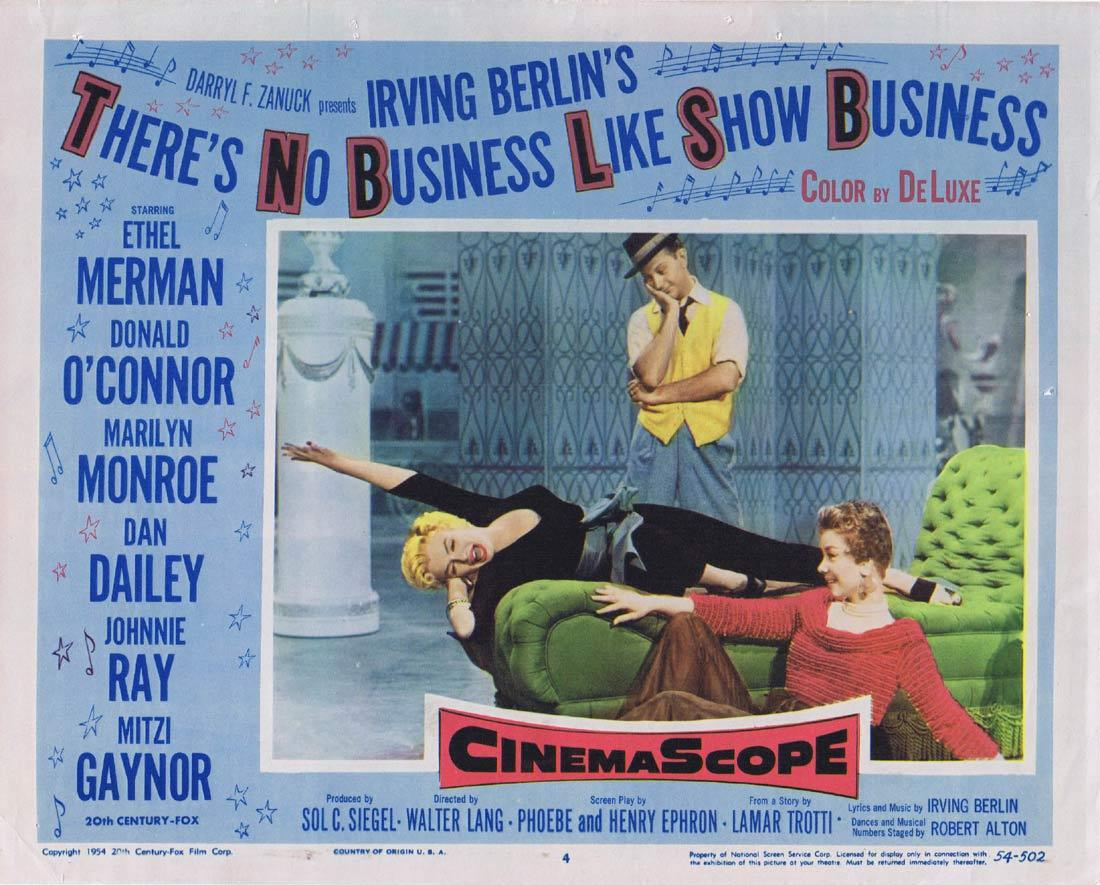 THERE'S NO BUSINESS LIKE SHOW BUSINESS Lobby Card 4 Ethel Merman Donald O'Connor Marilyn Monroe