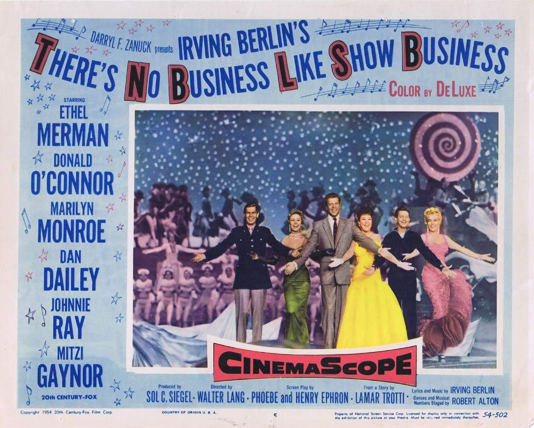 THERE'S NO BUSINESS LIKE SHOW BUSINESS Lobby Card 5 Ethel Merman Donald O'Connor Marilyn Monroe