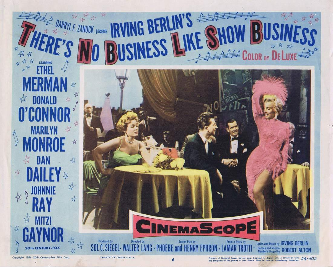 THERE'S NO BUSINESS LIKE SHOW BUSINESS Lobby Card 6 Ethel Merman Donald O'Connor Marilyn Monroe