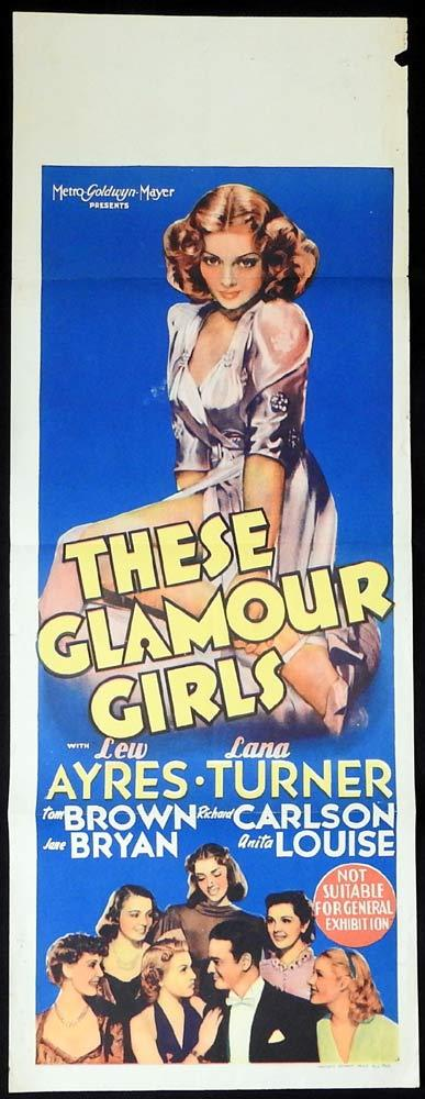 THESE GLAMOUR GIRLS Long Daybill Movie poster Lana Turner Lew Ayres
