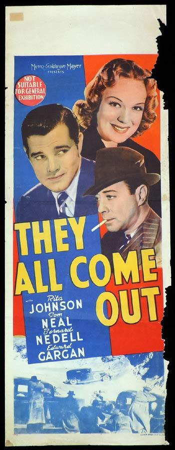 THEY ALL COME OUT Long Daybill Movie poster 1939 Jacques Tourneur Tom Neal