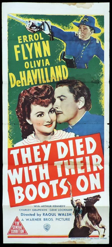 THEY DIED WITH THEIR BOOTS ON Original Daybill Movie Poster ERROL FLYNN Olivia DeHavilland Marchant