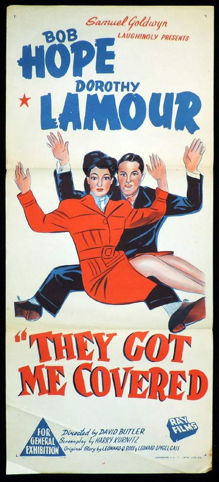 THEY GOT ME COVERED Original Daybill Movie Poster Bob Hope Dorothy Lamour
