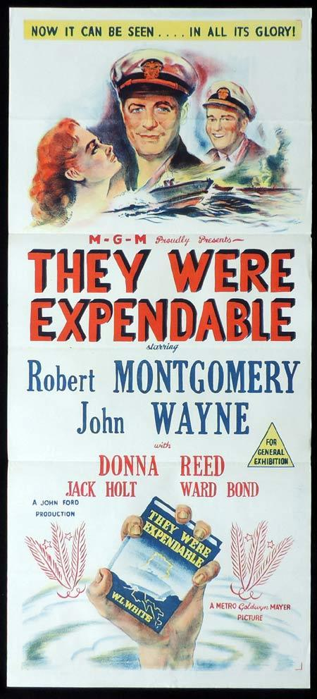 THEY WERE EXPENDABLE Original Daybill Movie Poster Robert Montgomery John Wayne