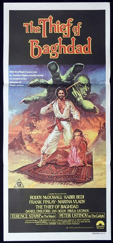 THE THIEF OF BAGHDAD Original Daybill Movie Poster Roddy McDowall Kabir Bedi