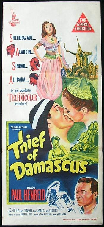 THIEF OF DAMASCUS Daybill Movie poster Paul Henreid Robert Clary