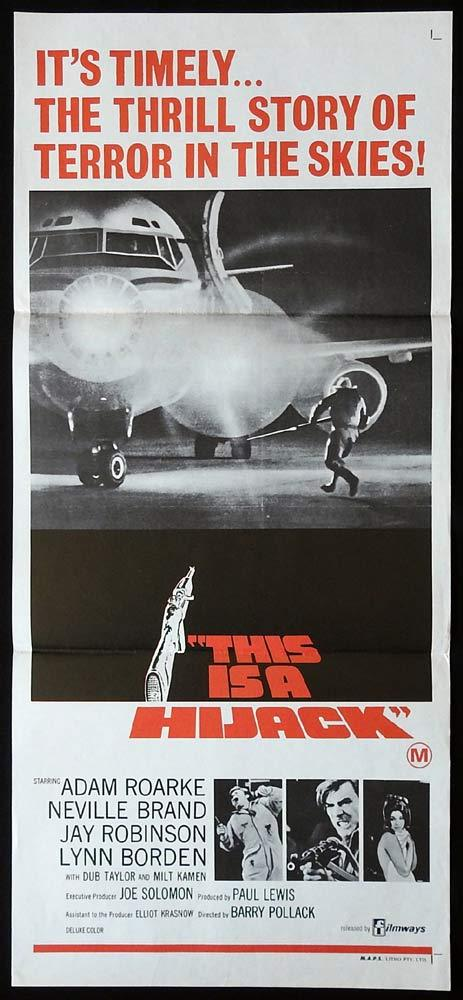 THIS IS A HIJACK Original Daybill Movie poster Airline Adam Roarke Lynn Borden