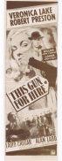 THIS GUN FOR HIRE Original Daybill Movie Poster Veronica Lake Robert Preston Laird Cregar Alan Ladd
