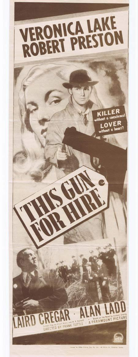THIS GUN FOR HIRE Original Daybill Movie Poster Veronica Lake Robert Preston Laird Cregar Alan Ladd