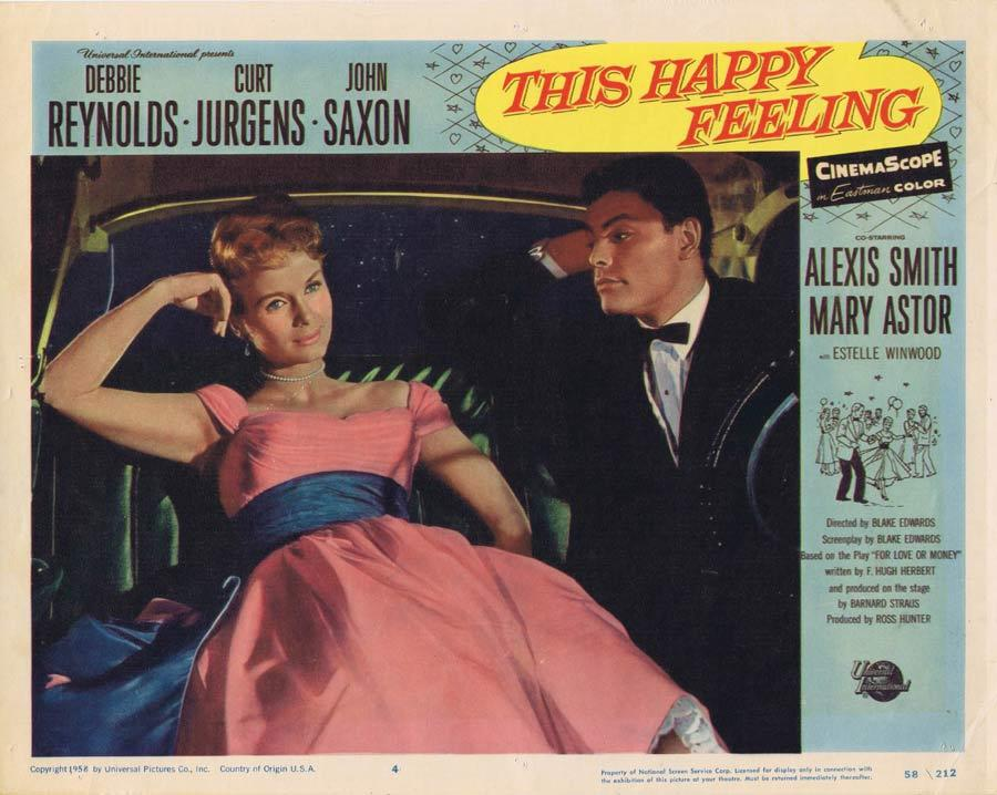 THIS HAPPY FEELING Lobby Card Debbie Reynolds John Saxon