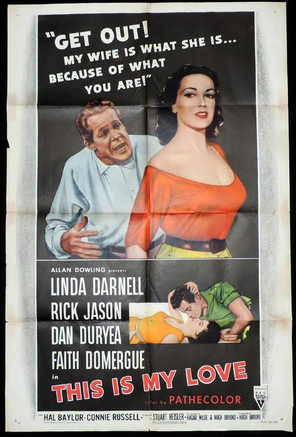 THIS IS MY LOVE One Sheet Movie Poster Linda Darnell RKO