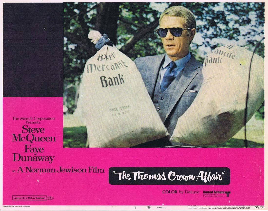 THE THOMAS CROWN AFFAIR Original Lobby Card 1 Steve McQueen Faye Dunaway