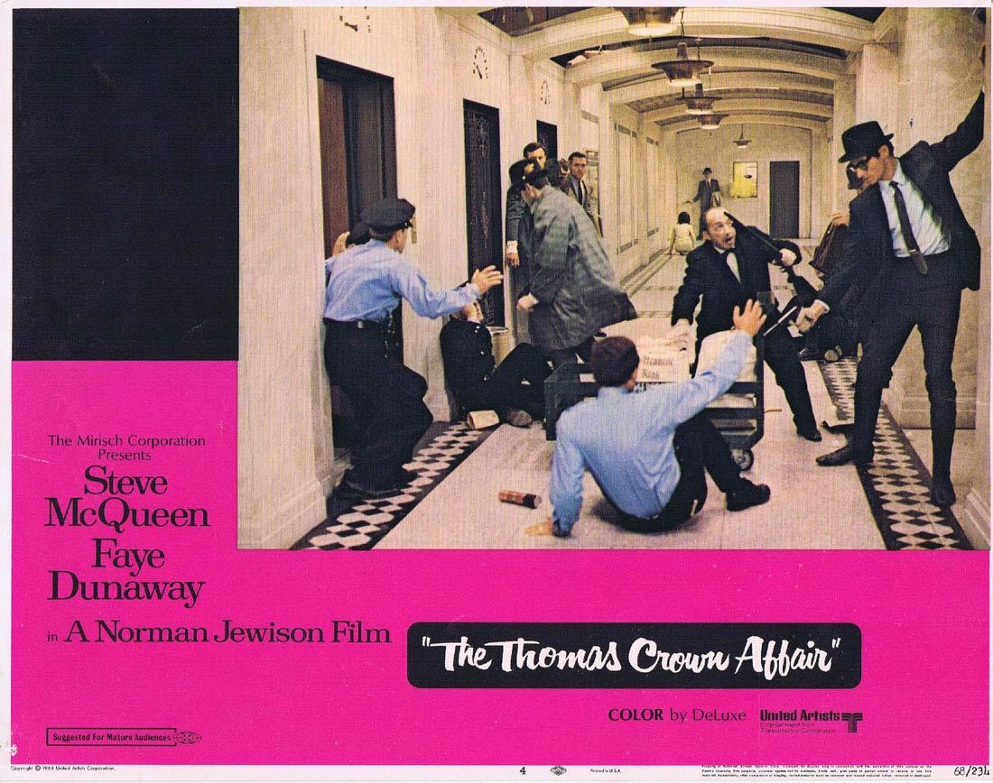 THE THOMAS CROWN AFFAIR Original Lobby Card 4 Steve McQueen Faye Dunaway