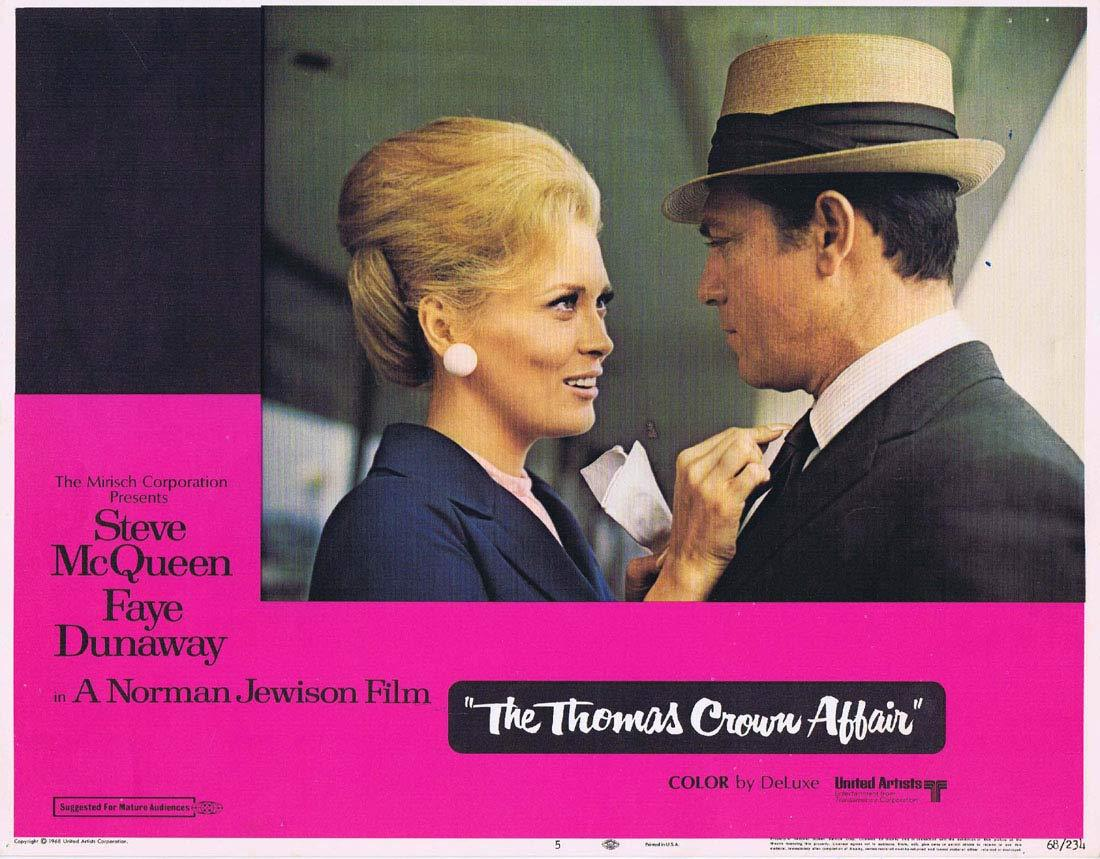 THE THOMAS CROWN AFFAIR Original Lobby Card 5 Steve McQueen Faye Dunaway