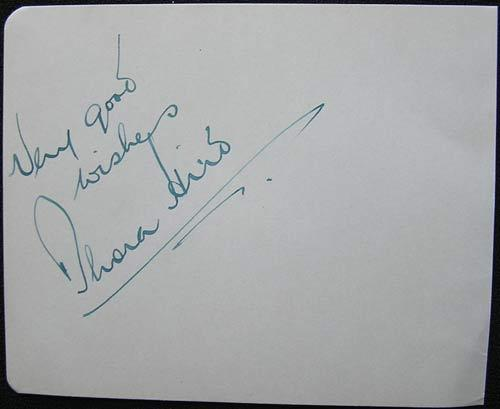 "Dame Thora Hird DBE (28 May 1911 – 15 March 2003)  English actress and Comedienne and star of the BBC comedy series ""Meet The Wife"". Autograph on an album page."