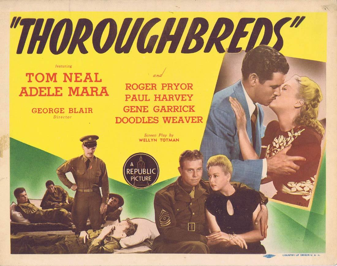 THOROUGHBREDS Title Lobby Card Tom Neal Adele Mara Roger Pryor