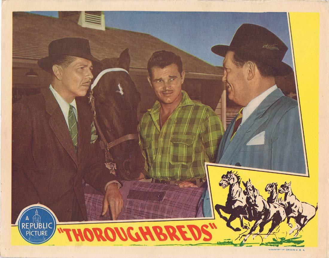 THOROUGHBREDS Lobby Card Tom Neal Adele Mara Horse Racing art