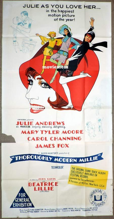 THOROUGHLY MODERN MILLIE Original 3 Sheet Movie Poster Julie Andrews