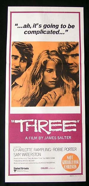 THREE Original Daybill Movie poster Charlotte Rampling Robie Porter Sam Waterston