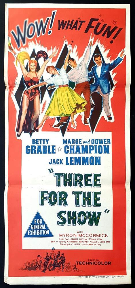 THREE FOR THE SHOW Original Daybill Movie Poster Betty Grable