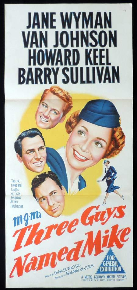 THREE GUYS NAMED MIKE Original Daybill Movie Poster Jane Wyman Van Johnson