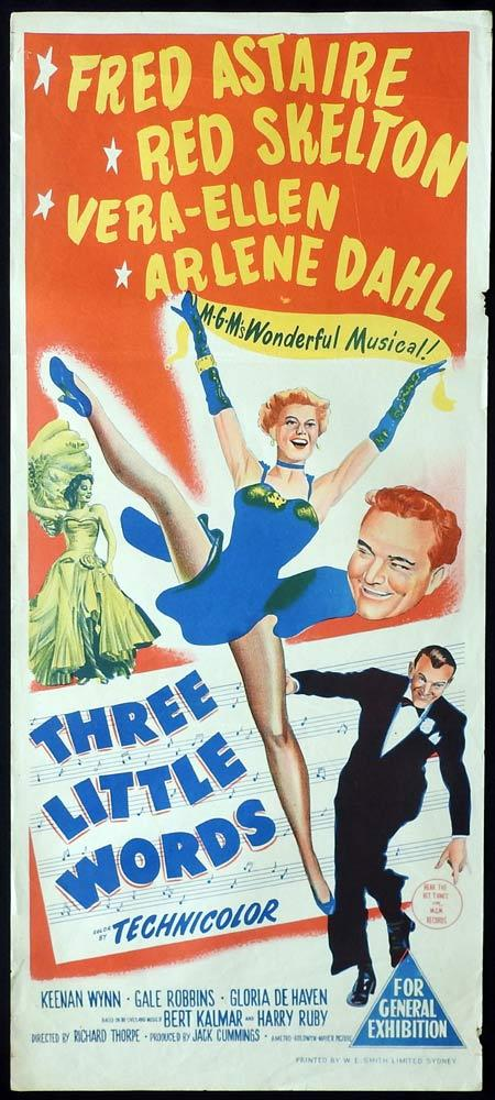 THREE LITTLE WORDS Original daybill Movie Poster Fred Astaire Red Skelton Vera-Ellen