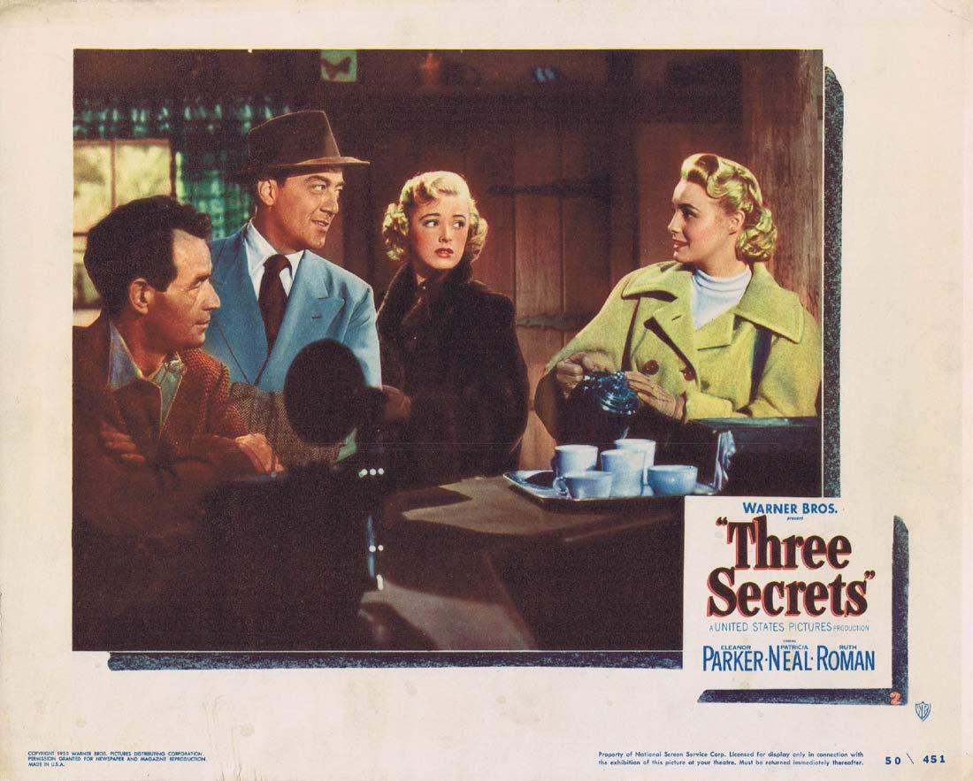 THREE SECRETS Original Lobby Card 2 Eleanor Parker Patricia Neal Ruth Roman