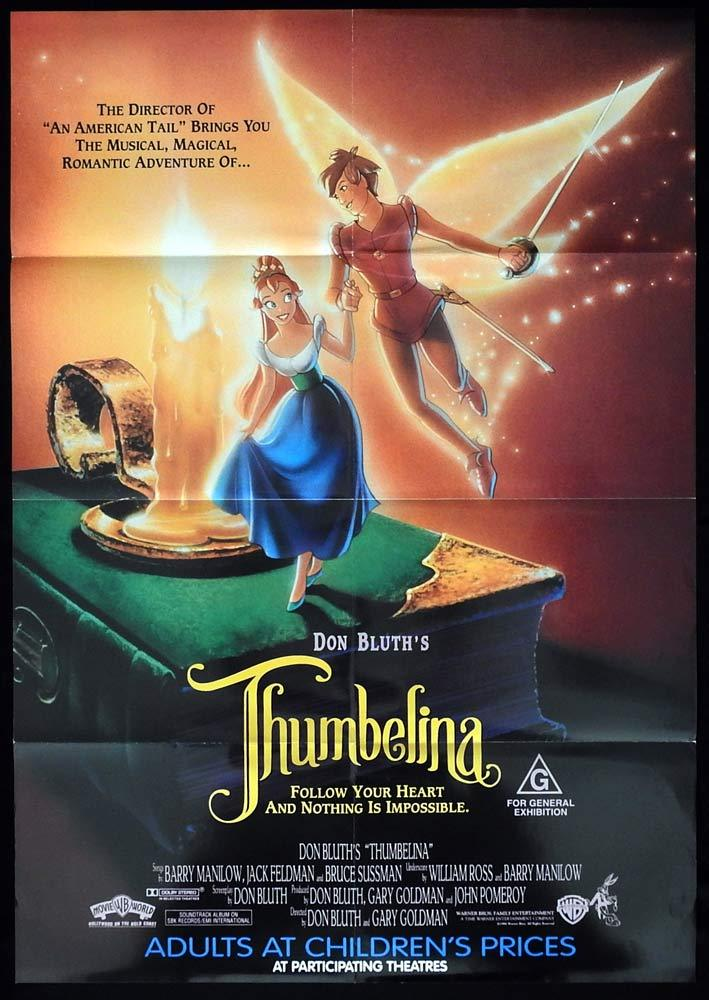 THUMBELINA Original One sheet Movie Poster Don Bluth Animation
