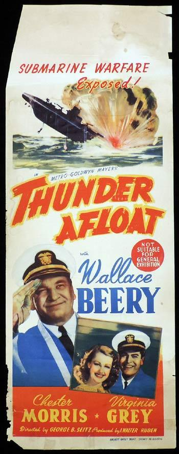 THUNDER AFLOAT Long Daybill Movie poster 1939 Wallace Beery Virginia Grey