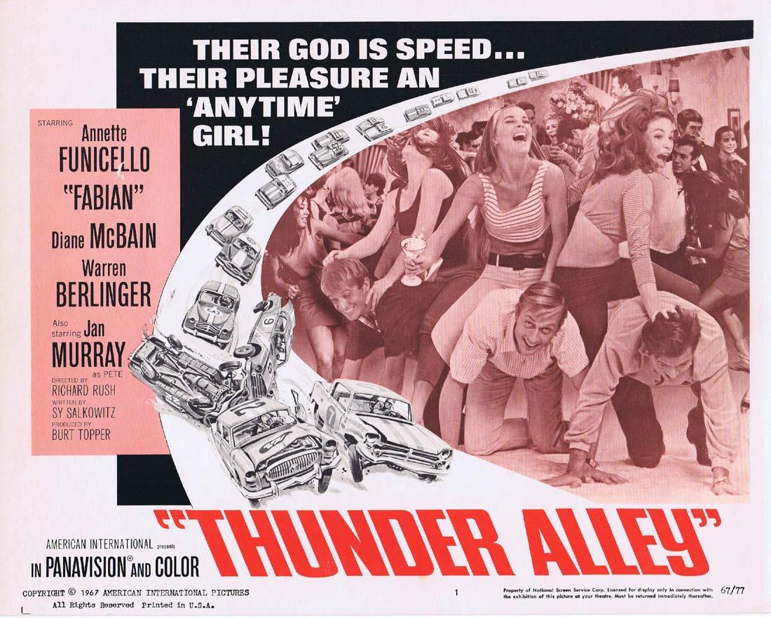 THUNDER ALLEY Lobby Card 1 Annette Funicello Fabian Forte Motor Racing