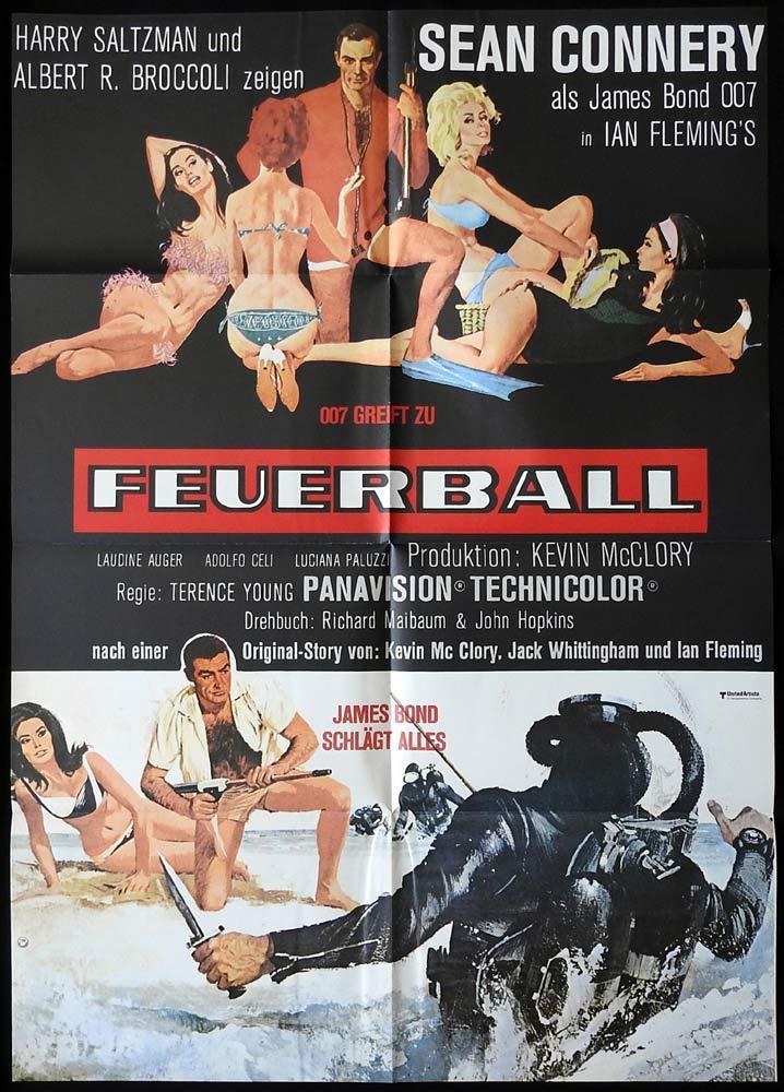 THUNDERBALL Original GERMAN One sheet poster James Bond 1977r