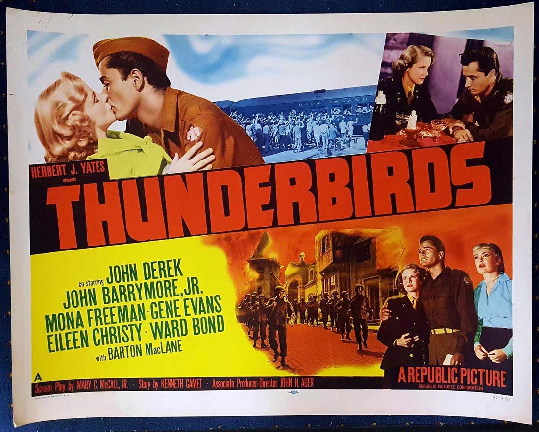 THUNDERBIRDS US Half sheet Movie poster John Derek John Drew Barrymore Mona Freeman
