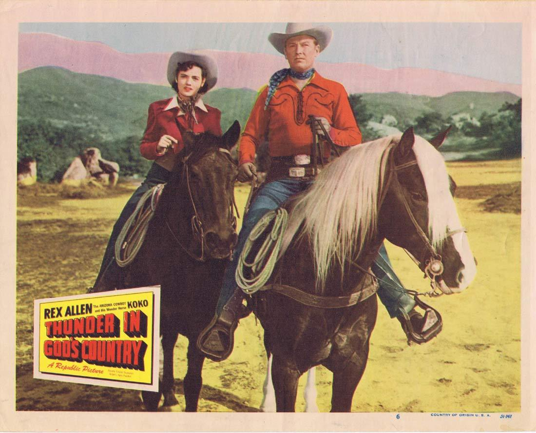 THUNDER IN GOD'S COUNTRY Original Lobby Card 6 Rex Allen Mary Ellen Kay Buddy Ebsen