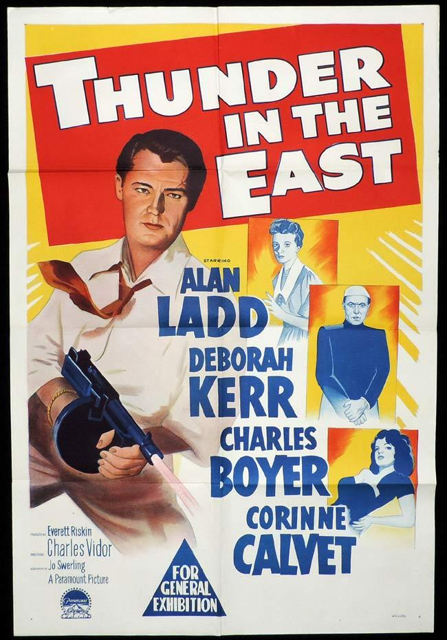 THUNDER IN THE EAST Original One sheet Movie Poster ALAN LADD Deborah Kerr Charles Boyer
